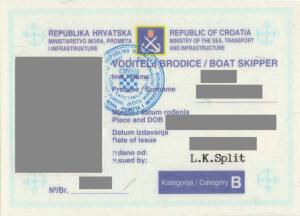 voditelj brodice B dozvola prednja strana