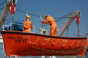 Lowering of the life boat